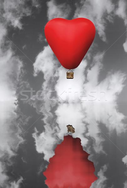 Czerwony hot włosy balon serca Zdjęcia stock © unikpix