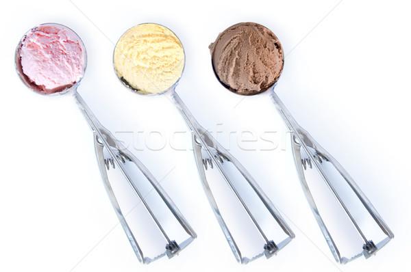 Dondurma üç arka plan yaz buz çilek Stok fotoğraf © unikpix