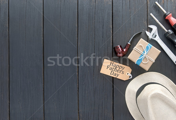 Dag geschenk geschenkdoos Blauw lint houten Stockfoto © unikpix