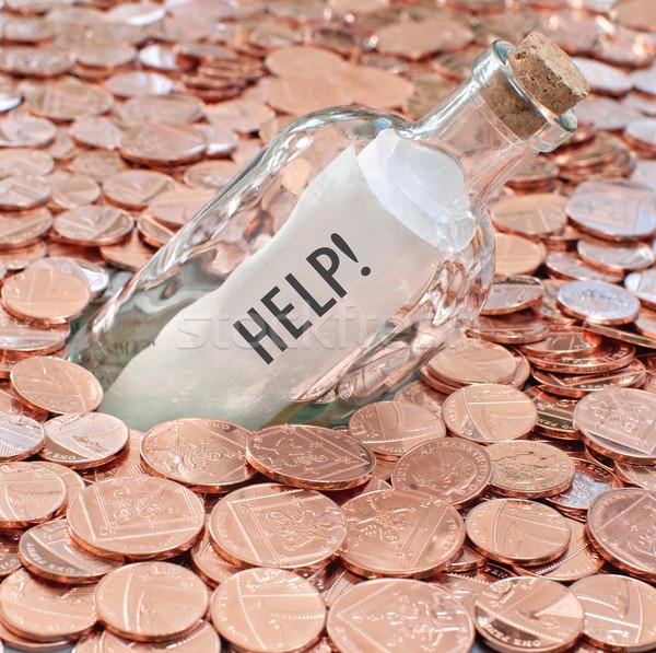 Financiële crisis oproep helpen bericht fles begraven Stockfoto © unikpix