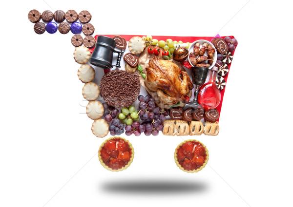 Thanksgiving christmas shopping cart Stock photo © unikpix