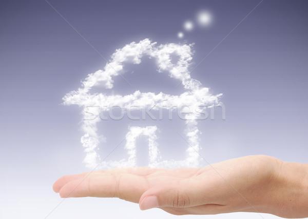 Hand droom home huis wolken Stockfoto © unikpix