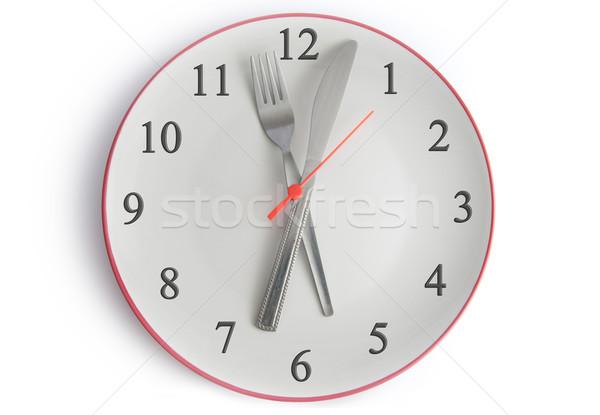 Refeição tempo prato garfo faca relógio Foto stock © unikpix
