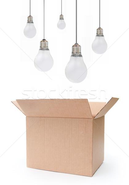 Stock foto: Denken · außerhalb · Feld · Glühbirnen · schweben · öffnen