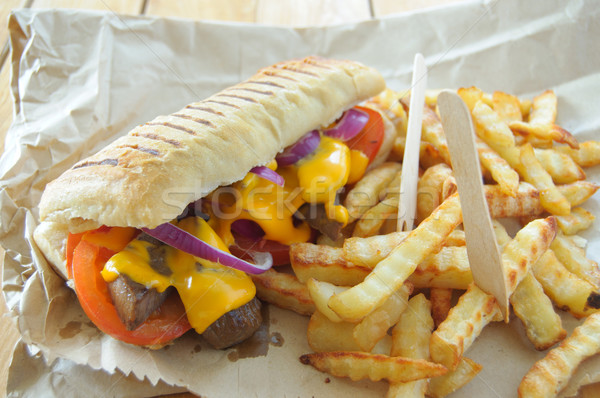 Philly cheese steak sandwich Stock photo © unikpix