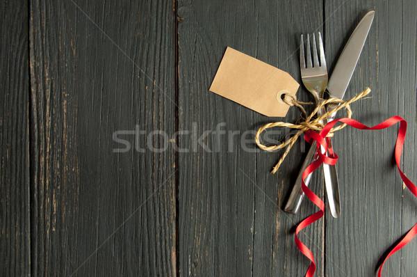 вилка ножом Label вместе деревянный стол тег Сток-фото © unikpix
