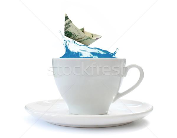 Fırtına çay fincanı dolar kâğıt tekne binicilik Stok fotoğraf © unikpix