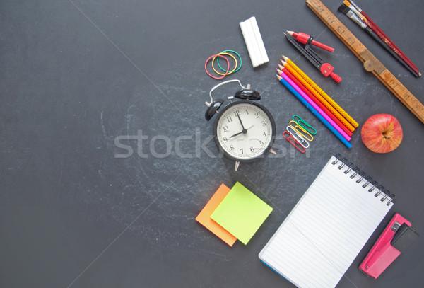 Oktatás iskola irodaszer kellékek felső tábla Stock fotó © unikpix