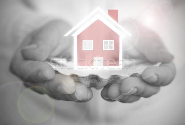 álom ház osztriga kagyló kéz tart Stock fotó © unikpix