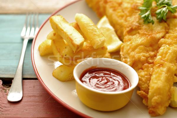 Fish and chips close up Stock photo © unikpix