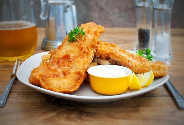 Poissons puces traditionnel anglais alimentaire citron Photo stock © unikpix