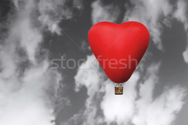 Foto stock: Vermelho · quente · cabelo · balão · forma · coração
