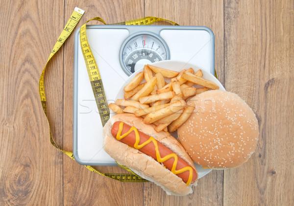 Terazi kötü diyet besi şerit metre Stok fotoğraf © unikpix