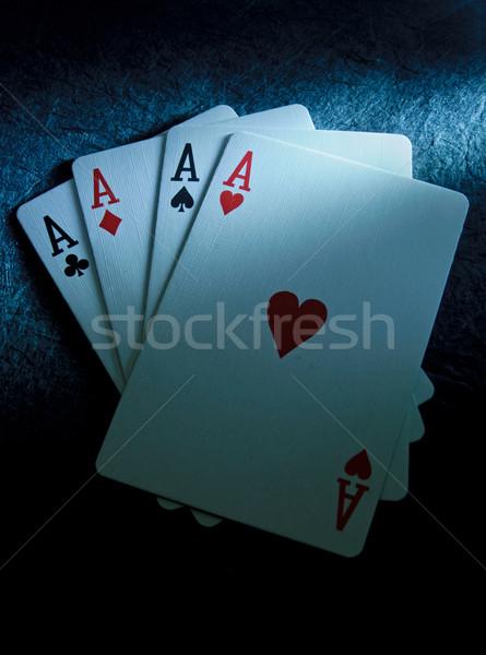 Gagner cartes à jouer quatre casino Photo stock © unikpix