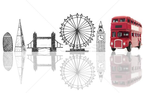 Turista dupla utazás sziluett építészet vakáció Stock fotó © unikpix