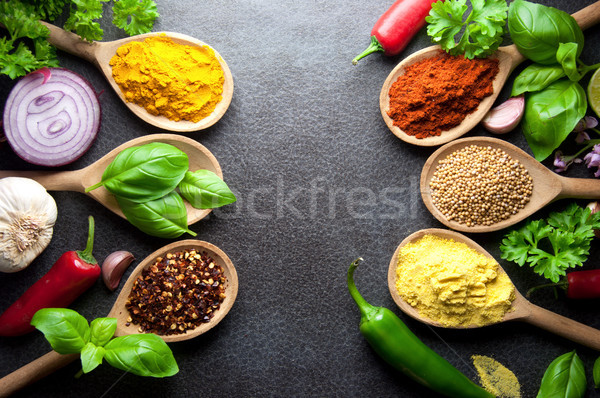 Stock photo: Fresh seasoning herbs and spices