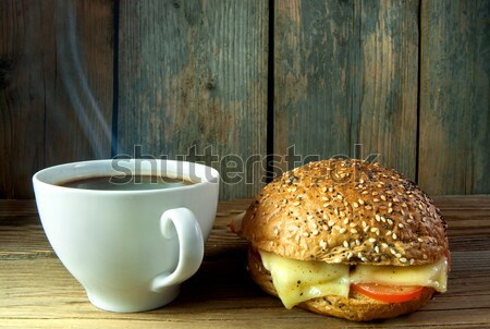 Breakfast coffee and sandwich background Stock photo © unikpix