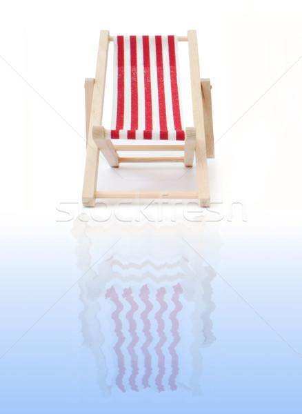 Ligstoel Rood zee zomer oceaan vakantie Stockfoto © unikpix