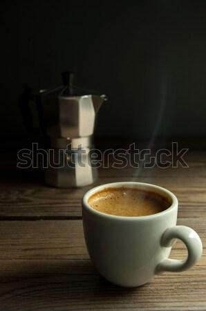 Italiana espresso caffè caldo Cup legno Foto d'archivio © unikpix