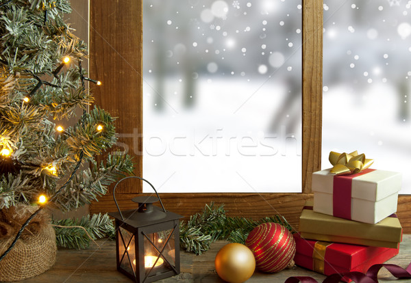 Christmas venster kerstboom geschenken decoraties sneeuw Stockfoto © unikpix