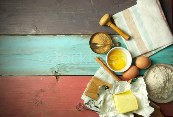 Сток-фото: Ингредиенты · яйца · мучной · пространстве · текста