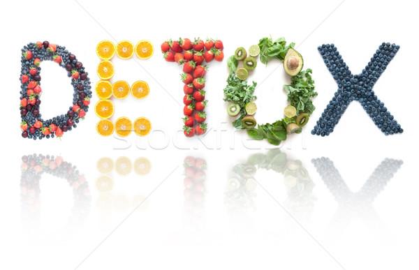 Detoxikáló különböző csoportok gyümölcsök zöldségek fehér Stock fotó © unikpix
