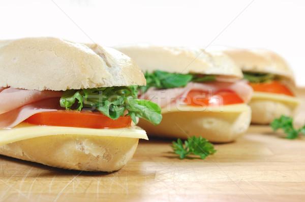 Büyük sandviçler sandviç baget jambon Stok fotoğraf © unikpix