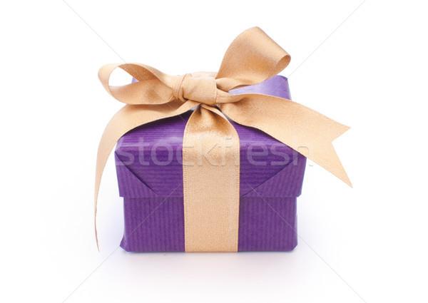 настоящее Purple шкатулке золото лента Пасху Сток-фото © unikpix