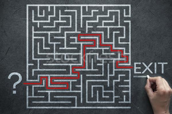 Labyrinth Problem Weg Lösung führend starten Stock foto © unikpix