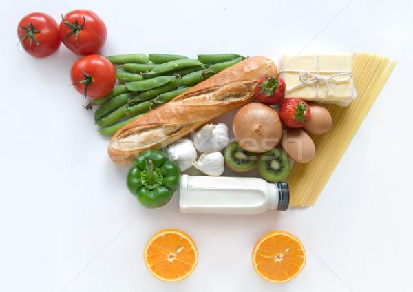 Stock fotó: élelmiszer · vásárlás · gyümölcsök · zöldségek · tészta · tejtermékek