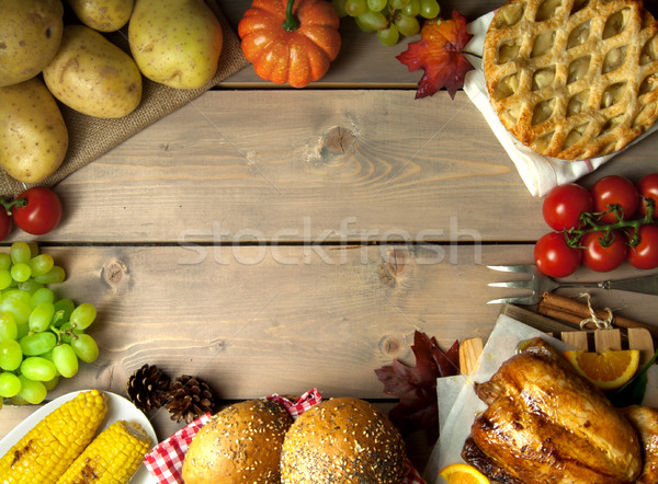 Thanksgiving meal background with space Stock photo © unikpix