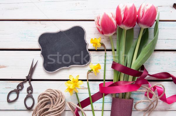 Tulipany wiosną tulipan bukiet mały tablicy Zdjęcia stock © unikpix