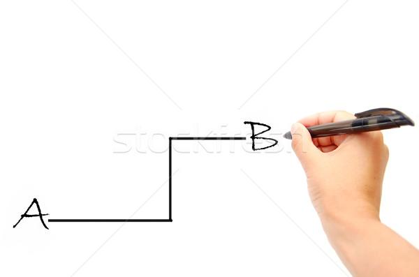 Pad omweg hand werk pen onderwijs Stockfoto © unikpix
