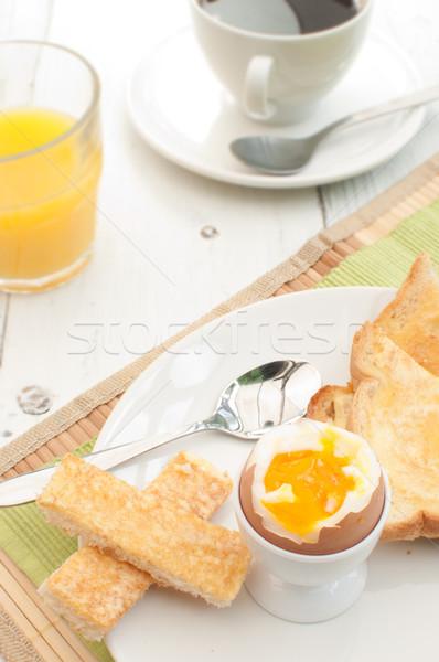 завтрак тоста кофе апельсиновый сок стекла Сток-фото © unikpix