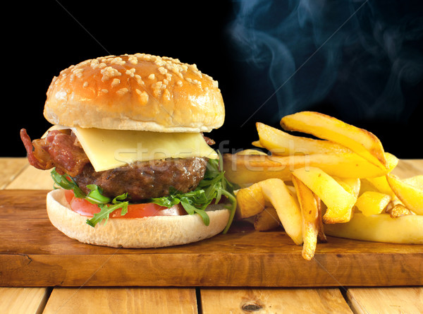 Cheeseburger with french fries  Stock photo © unikpix