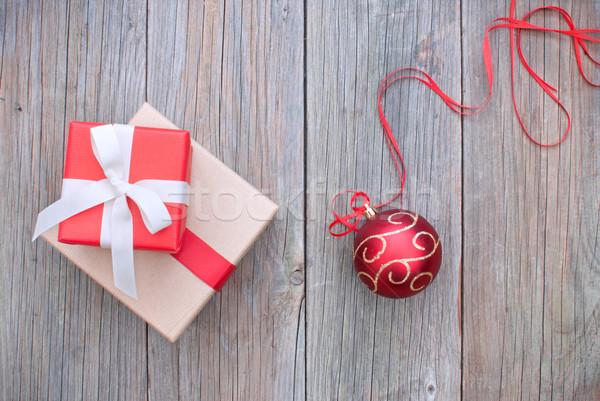 Рождества представляет подарки украшения древесины фон Сток-фото © unikpix