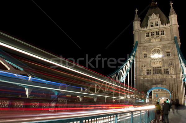 Tower Bridge trafik kuyruk ışıklar tarih kule Stok fotoğraf © unikpix