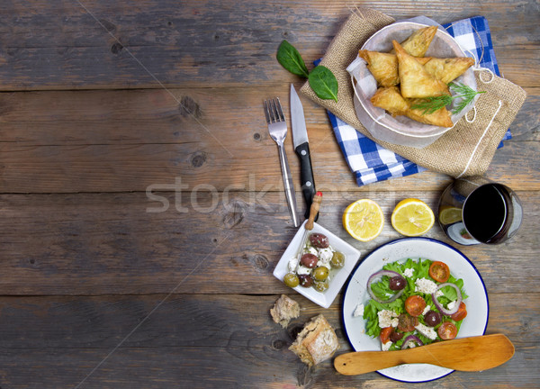Greek filo pastries and salad  Stock photo © unikpix