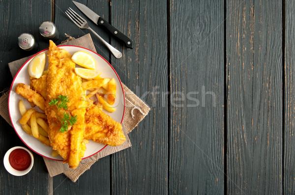 Hal sültkrumpli kettő darabok leharcolt tányér Stock fotó © unikpix