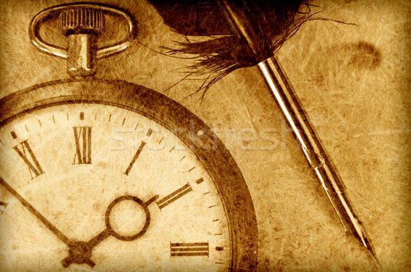 часы Vintage Смотреть пер сепия рук Сток-фото © unikpix
