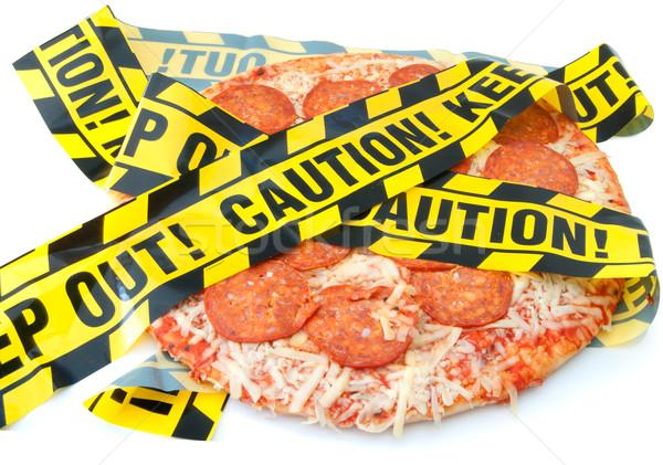 Aliments malsains prudence bande autour pizza déjeuner Photo stock © unikpix