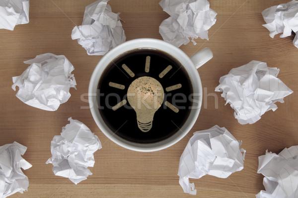 Stock fotó: Villanykörte · szimbólum · bent · kávéscsésze · új · ötletek