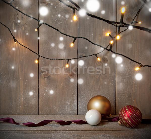 Christmas bokeh dekoracyjny światła przestrzeni Zdjęcia stock © unikpix