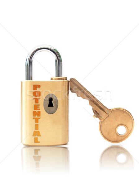 Zárat kinyit potenciál lakat kulcslyuk fehér kulcs Stock fotó © unikpix