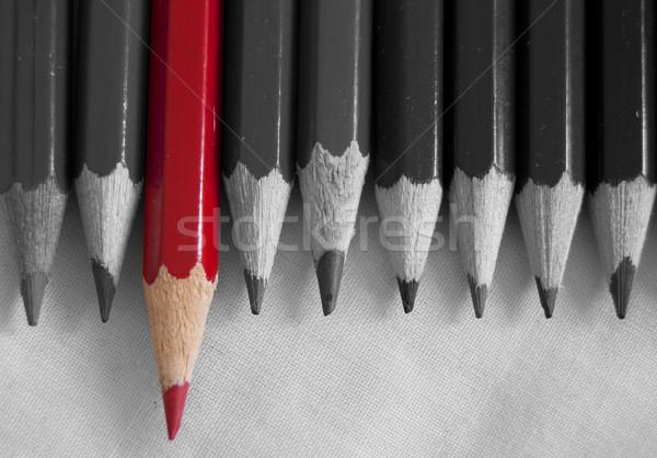 Kalabalık kırmızı kalem kalemler Stok fotoğraf © unikpix