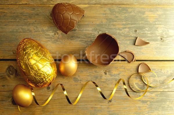 золото пасхальное яйцо шоколадом пасхальных яиц украшение лента Сток-фото © unikpix