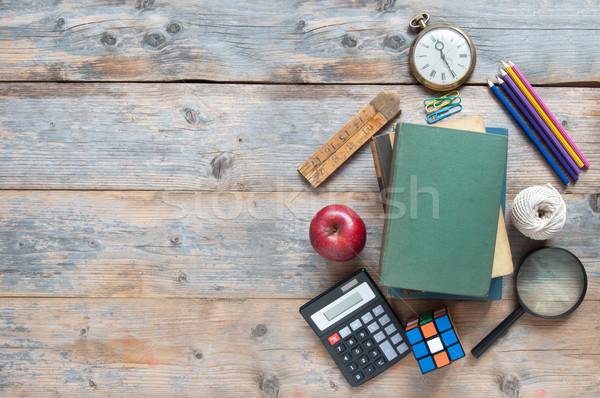 Bildung Schreibwaren Kopie Raum Schule Zubehör Holztisch Stock foto © unikpix