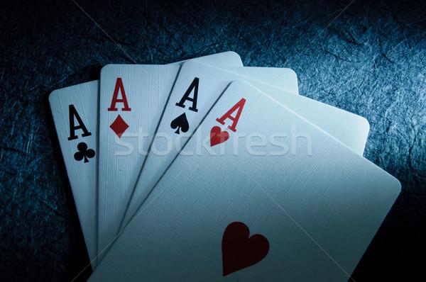 Gagner cartes à jouer casino succès Photo stock © unikpix
