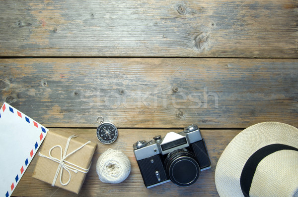 Travel objects over a wooden background Stock photo © unikpix