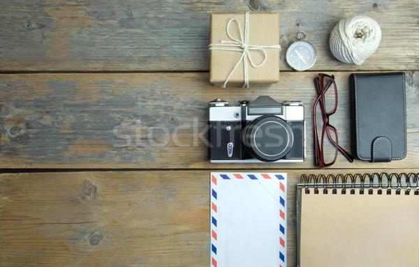 Utazás kirándulás kamera nemzetközi boríték kalap Stock fotó © unikpix
